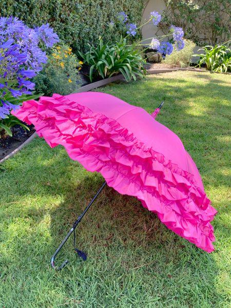 New! Large 3 Row Frill Fuschia Umbrella - Faux Leather Tassel Handle - Automatic Opening
