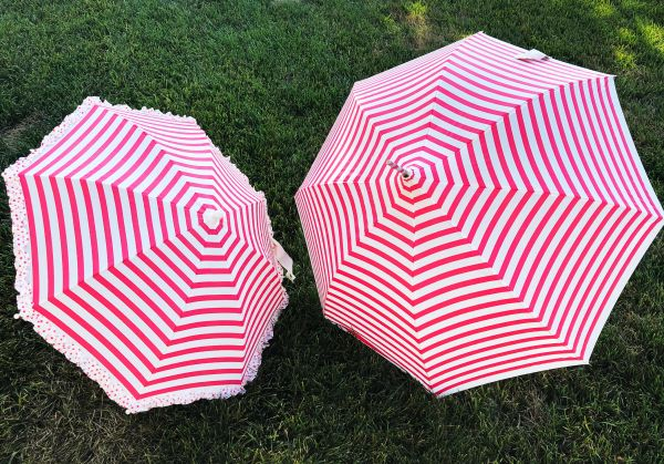 Mommy And Me Umbrella Set - Adult And Kid Pink Stripes - Waterproof