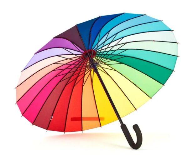 "24 Ribs Rainbow Stick Style Umbrella/Parasol - Large Diameter 41.5"""