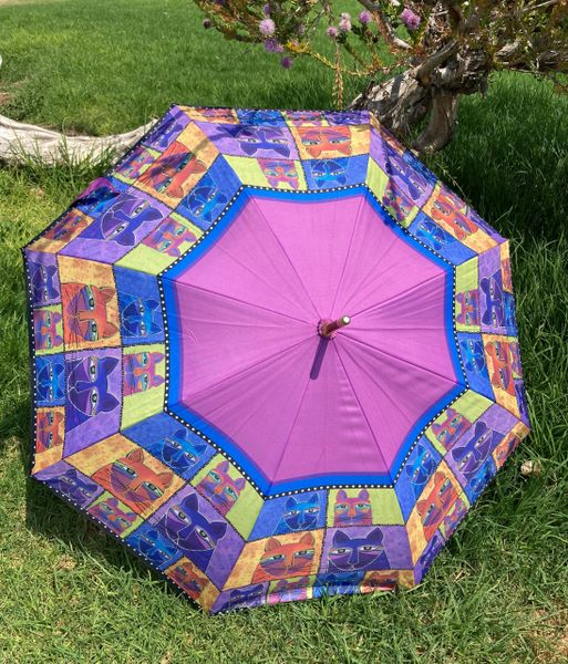 Laurel Burch Umbrella - Whiskered Cats - Stick Style