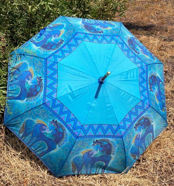 Laurel Burch Umbrella - Teal Mares - Stick Style