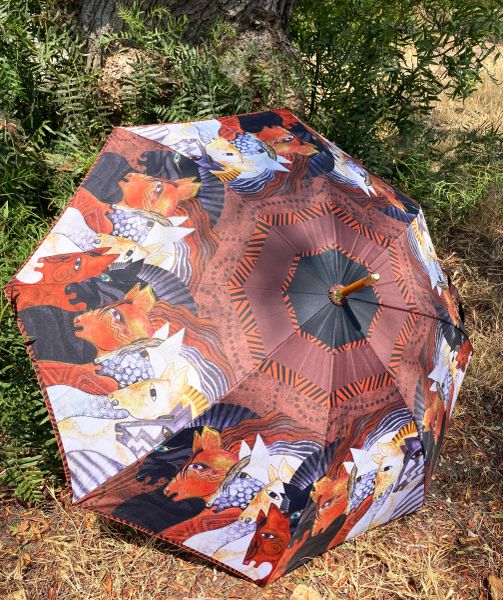 Laurel Burch Umbrella - Moroccan Mares - Stick Style