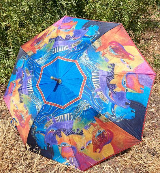 Laurel Burch Umbrella - Wild Horses of Fire - Stick Style