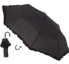 Folding Umbrella - Black with ruffles - Manual