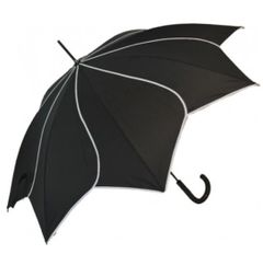 Black/White Trim Swirl Umbrella Parasol - Waterproof