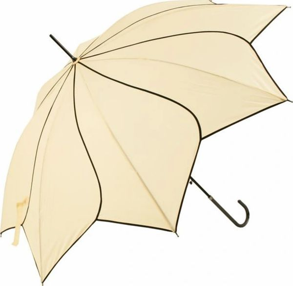 Cream Black Trim Swirl Umbrella/Parasol - Waterproof