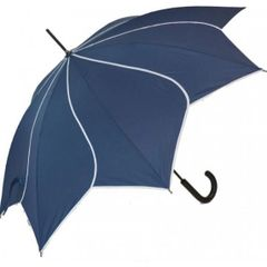 navy/white trim flower petal shaped umbrella/parasol