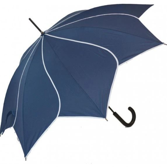 Navy/White Trim Swirl Umbrella/Parasol - Waterproof