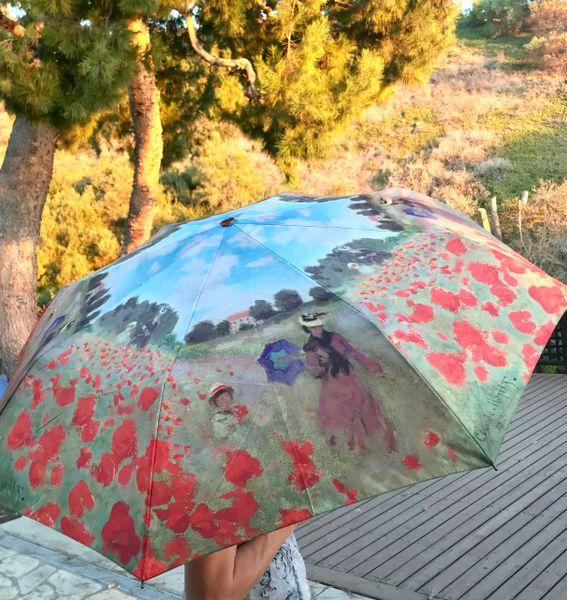 Heavy duty compact umbrella - Monet Poppy field