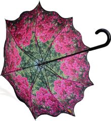 Stick Style Umbrella/Parasol - Double layer - Bougainvillea Floral pattern inside