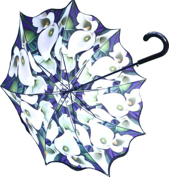 Stick Style Umbrella/Parasol - Double layer - Calla Lilly Floral Design Inside