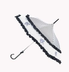 French Rose Design Double Frill Umbrella/Parasol - Waterproof