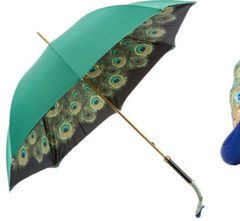Sold - 30% off - Pasotti Luxury Peacock Umbrella Double layer Green Canopy