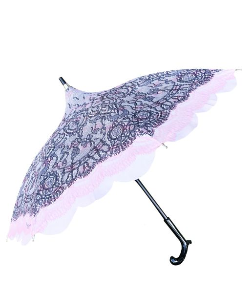 Chantal Thomass Umbrella - Soft Pink Printed Lace - Parasol Size - Handmade In France - Waterproof And SPF 50+
