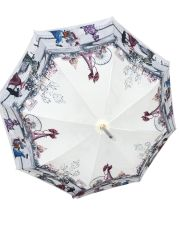 Guy de Jean - Paris 1900 Theme Plum Umbrella - Waterproof