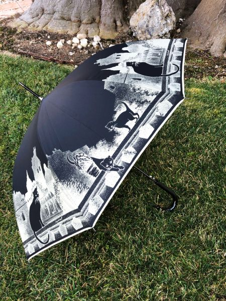 Cats On Black By Guy de Jean- Luxury Umbrella Handmade in France - Auto Open