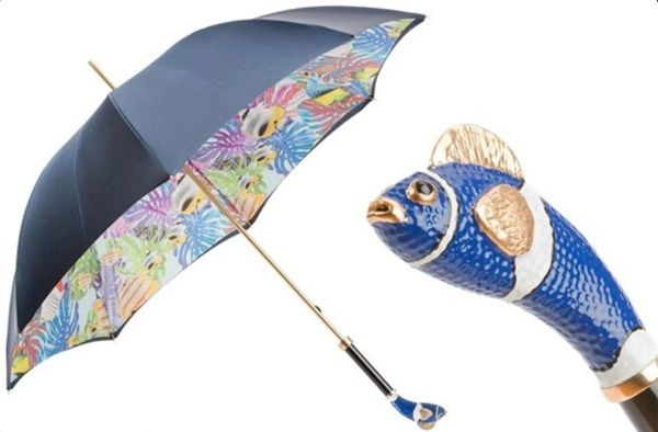 Temporarily Out Of Stock - Pasotti Luxury Blue Nemo Umbrella - Double Layer Dark Blue Canopy