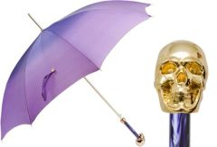 Pasotti Luxury Golden Skull Umbrella - Single Layer Purple Ombre