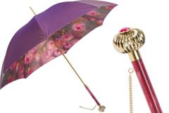 Pasotti Luxury Iridescent Purple umbrella - Double Layer Printed Roses Inside