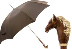 SOLD - 30% off - Pasotti Luxury Brown Horse Umbrella - Single Layer Canopy