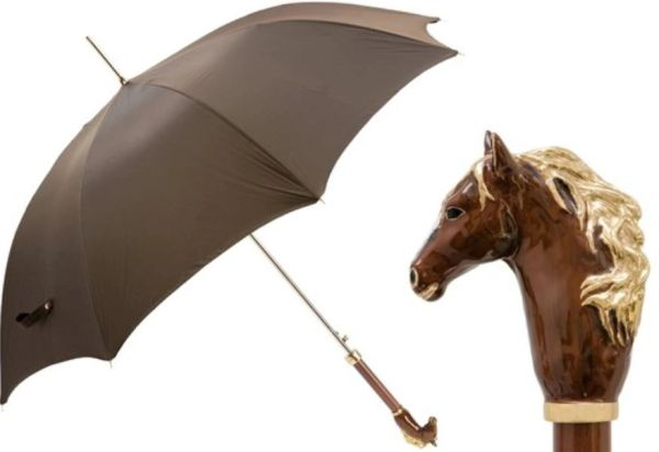 Pasotti Luxury Brown Horse Umbrella - Single Layer Canopy