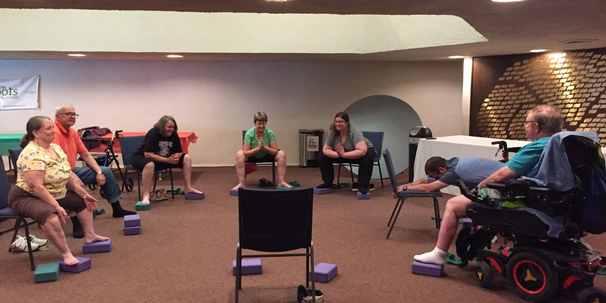 Seated Malasana.  Yoga for People Living with MS Adaptive Yoga.  Accessible Yoga.