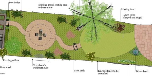 Landscape design plan for Bath town garden: path with rose arch leading to circular seating area