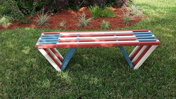 Cool Backless Wood Bench X60 In Bold Red White Blue Colors Ibusinesslaw Wood Chair Design Ideas Ibusinesslaworg