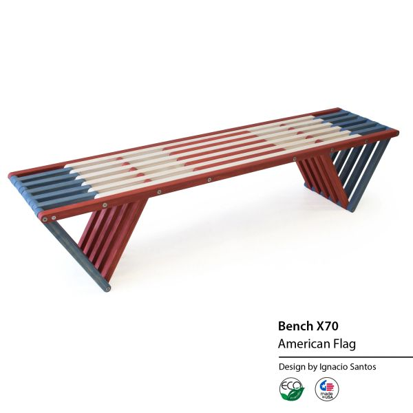 Miraculous Eco Friendly Wood Backless Bench X70 In Red White Blue American Themed Colors Usa Made Ibusinesslaw Wood Chair Design Ideas Ibusinesslaworg