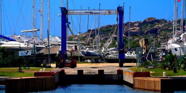 70 Ton Marine Travelift Boat Hoist in the South Boatyard at Virgin Gorda Yacht Harbour BVI British Virgin Islands