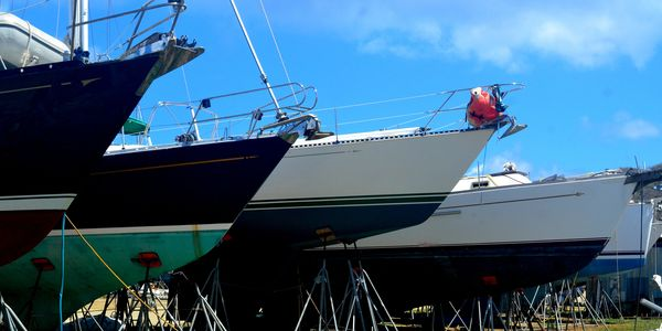Yachts in storage in the South Boatyard at Virgin Gorda Yacht Harbour BVI British Virgin Islands