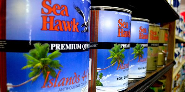 Sea Hawk Antifoul Bottom paint at the Chandlery at Virgin Gorda Yacht Harbour BVI British Virgin Islands