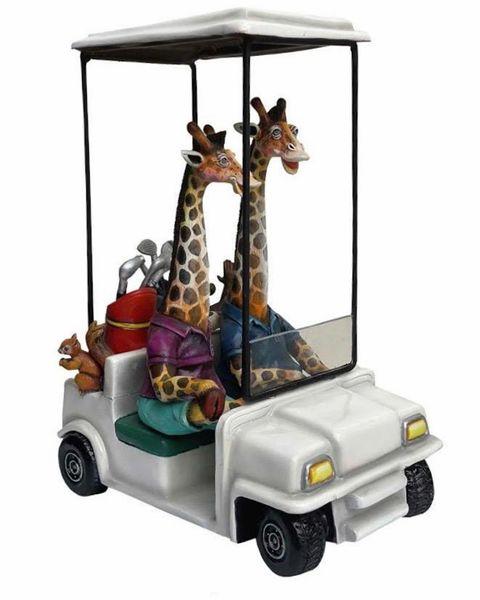 Giraffes in Golf Cart
