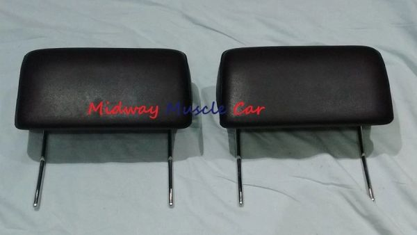 BLACK headrest (pr) 66 67 Chevy Pontiac GTO Chevelle Cutlass 442 GS Impala