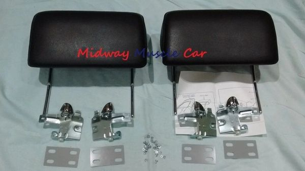 BLACK headrest kit 66 67 Chevy Pontiac GTO Chevelle Cutlass 442 GS Impala