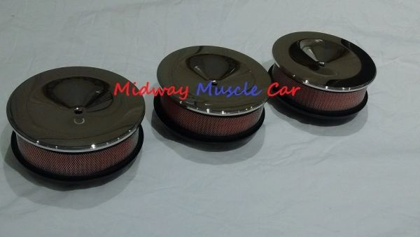 tri-power air cleaner set lid base & hi-flow filter Pontiac GTO Olds Cutlass 442