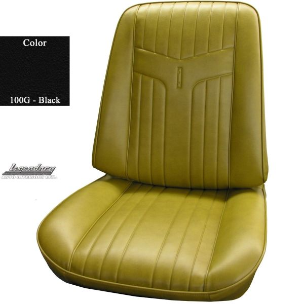 BLACK LEGENDARY bucket seat cover upholstery (pr) 69 Pontiac GTO Lemans judge