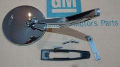 outside round bowtie chevy side view mirror 66 67 Chevelle Nova Camaro GM resto parts