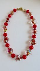 Venetian Dichroic Pebbled Red Glass Beads with Poppy Red Venetian Glass Bead Necklace