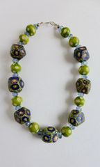Indonesion Recycled Painted glass with Round Polka Dot Lime Green Wood Beads Necklace, and Swarovski Crystal Beads