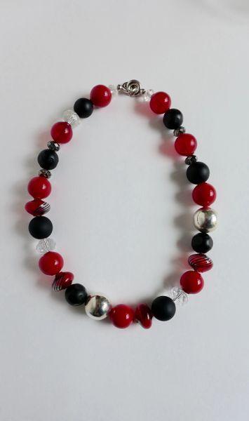Venetian Murano Red Blown Glass, Blown Cipollina Murano Glass Bead, Sterling Silver Round beads, Swarovski Crystal Beads