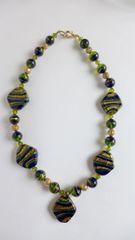 Venetian Emerald/Cobalt Diamond Missioni Beads, Black Window Pane Onyx, Round Emerald/Cobalt Missioni beaded Necklace