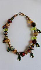 Venetian Murano, Swarovski Crystal Drop, Vintage Lucite Necklace