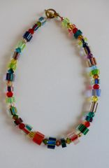 Cane Glass Beads with Assorted Swarovski Crystal Beaded Necklace