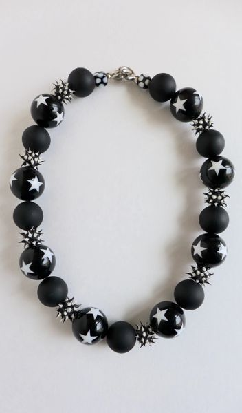Vintage Lucite Black With Stars, Round Acrylic Rubber, Recycled Rubber Beaded Necklace
