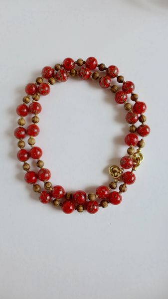 Aventurina Deep Red Murano Glass Round Beads, With Coffee Striped Wood Beaded Single/Double Strand Necklace