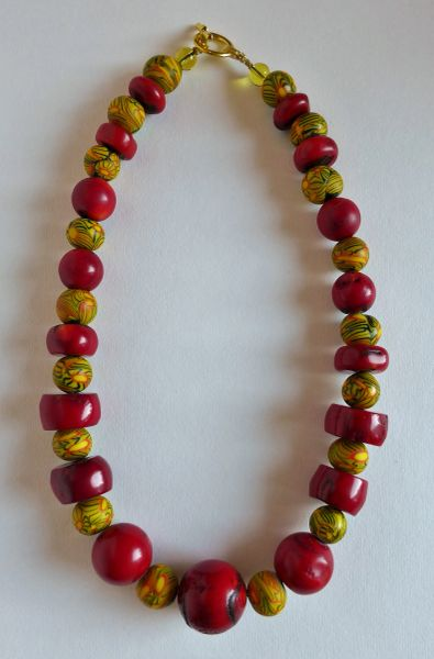 18.5 Inch Necklace with Blood Coral & Mustang Coral with Javanese Round Beads