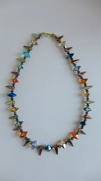 20 Inch Necklace with Swarovski Double Spiked Crystal Beads with Czech Spiked Rainbow Glass Necklace