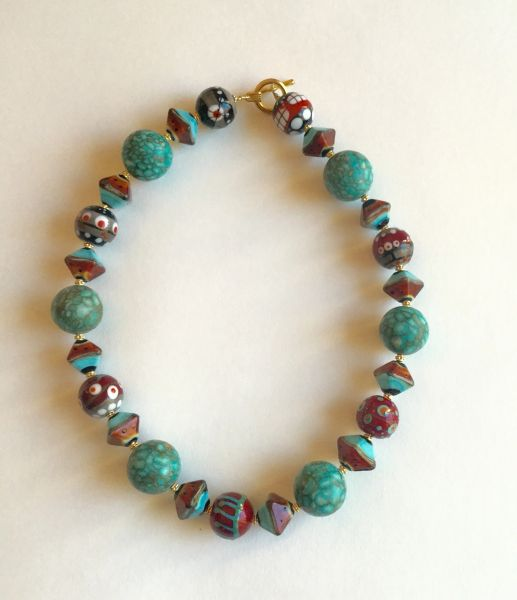19 Inch Single Strand Necklace with Organic Rubino Turquoise Handmade Glass, with Hand Blown Lampwork Beads