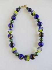 Murano Bi-Color Sasso Beads with Vintage Lucite & Swarovski Beaded Necklace